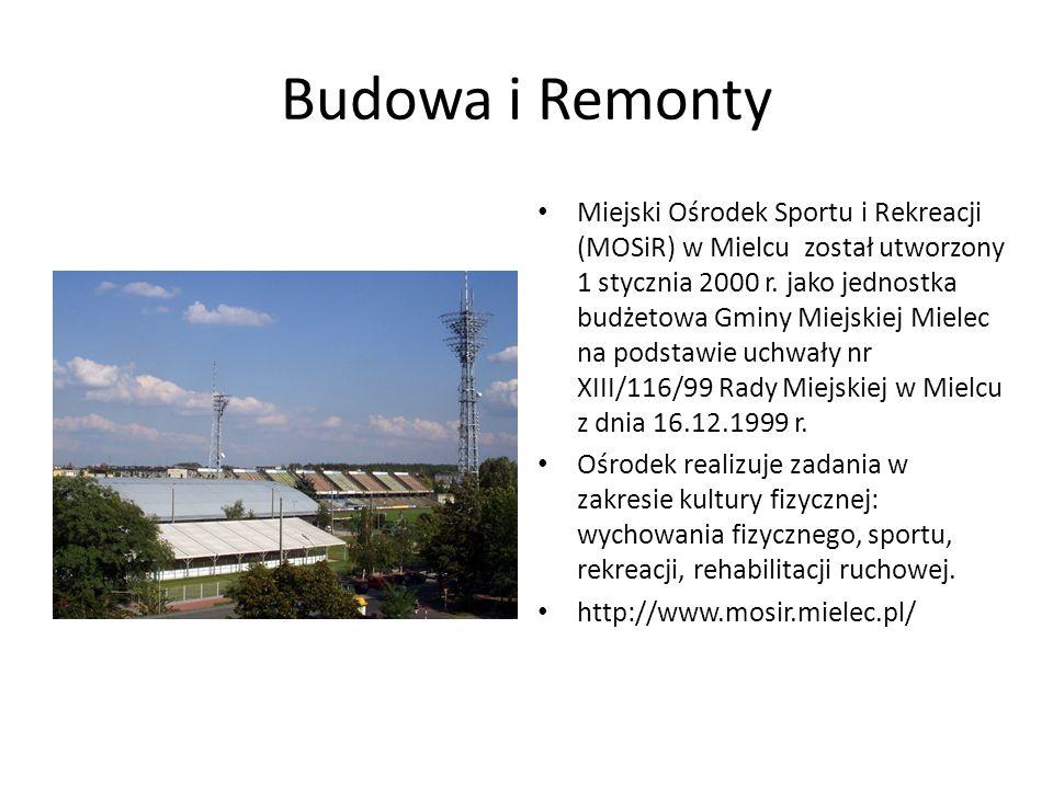 Budowa i Remonty Miejski Ośrodek Sportu i Rekreacji (MOSiR) w Mielcu został utworzony 1 stycznia 2000 r. jako jednostka budżetowa Gminy Miejskiej Miel