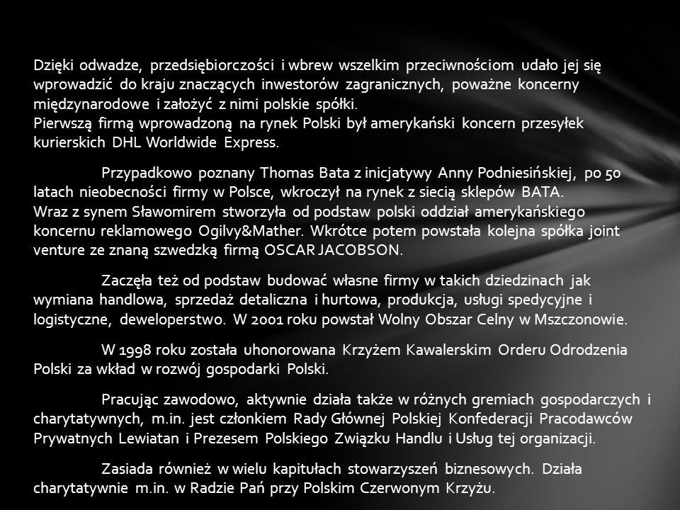 Anna Podniesińska Absolwentka Wydziału Psychologii Uniwersytetu Warszawskiego i Studium Organizacji i Zarządzania. Właścicielka, udziałowiec i zarządz