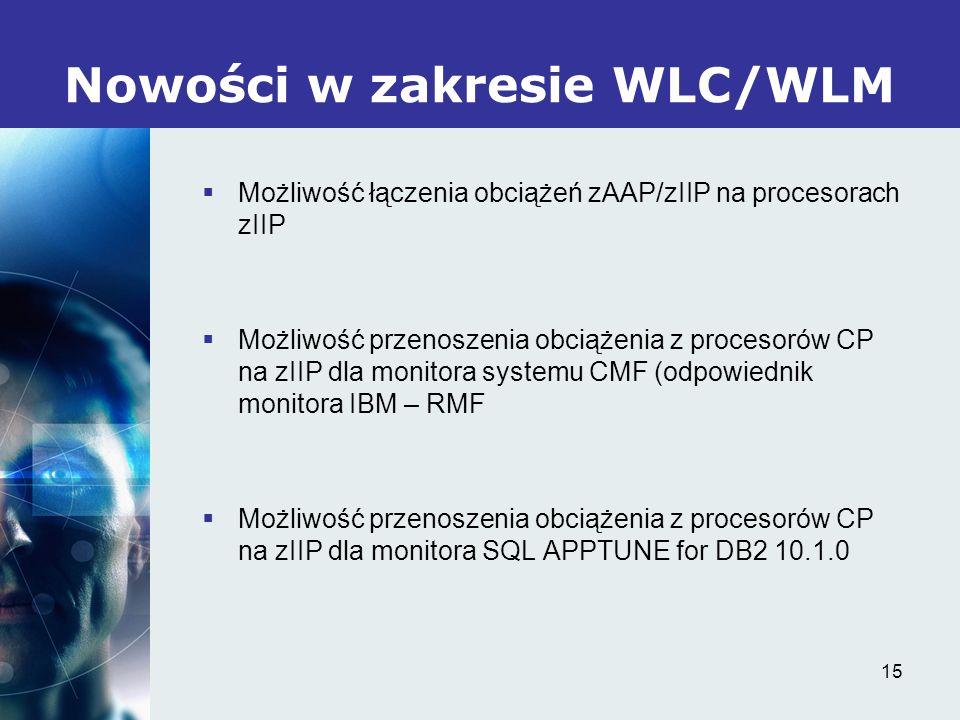 15 Nowości w zakresie WLC/WLM Możliwość łączenia obciążeń zAAP/zIIP na procesorach zIIP Możliwość przenoszenia obciążenia z procesorów CP na zIIP dla monitora systemu CMF (odpowiednik monitora IBM – RMF Możliwość przenoszenia obciążenia z procesorów CP na zIIP dla monitora SQL APPTUNE for DB2 10.1.0