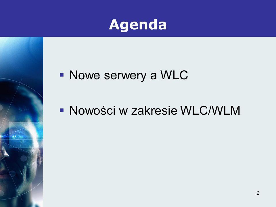 2 Nowe serwery a WLC Nowości w zakresie WLC/WLM Agenda