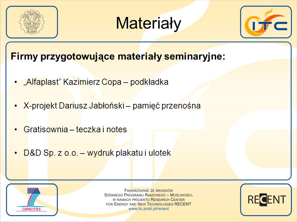 Materiały Firmy przygotowujące materiały seminaryjne: Alfaplast Kazimierz Copa – podkładka X-projekt Dariusz Jabłoński – pamięć przenośna Gratisownia