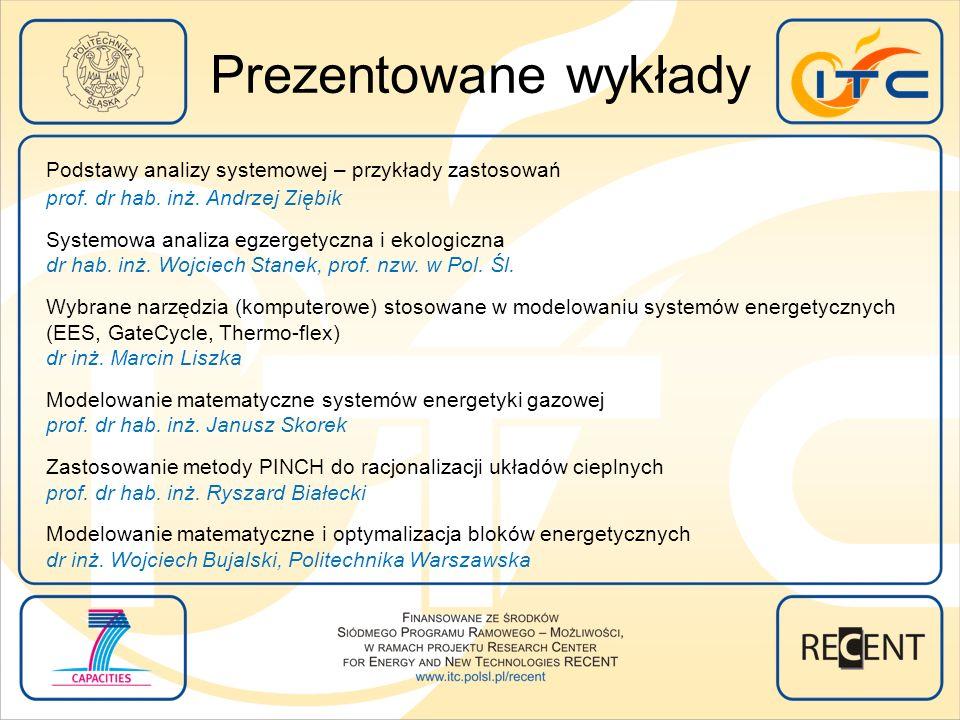 Prezentowane wykłady Podstawy analizy systemowej – przykłady zastosowań prof. dr hab. inż. Andrzej Ziębik Systemowa analiza egzergetyczna i ekologiczn