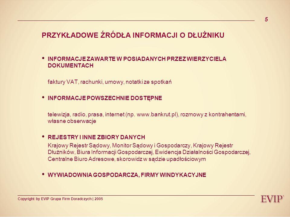 Copyright by EVIP Grupa Firm Doradczych | 2005 6 POSTĘPOWANIE SĄDOWE POSTĘPOWANIE POLUBOWNE SĄDOWE (wady i zalety) Postępowanie pojednawcze (art.