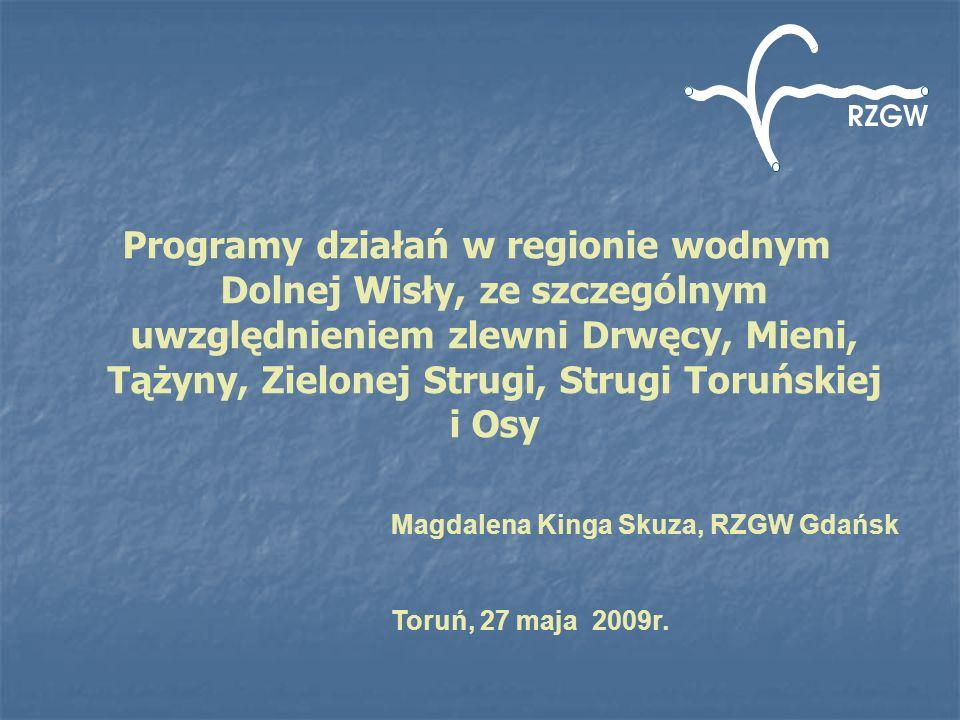 Programy działań w regionie wodnym Dolnej Wisły, ze szczególnym uwzględnieniem zlewni Drwęcy, Mieni, Tążyny, Zielonej Strugi, Strugi Toruńskiej i Osy