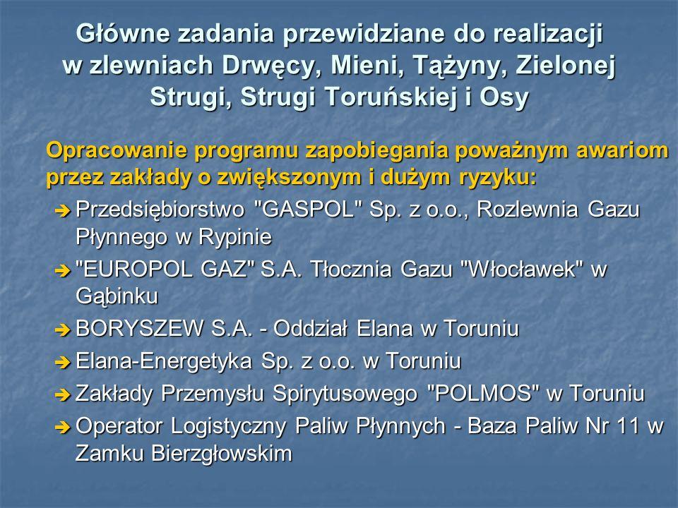 Główne zadania przewidziane do realizacji w zlewniach Drwęcy, Mieni, Tążyny, Zielonej Strugi, Strugi Toruńskiej i Osy Opracowanie programu zapobiegani