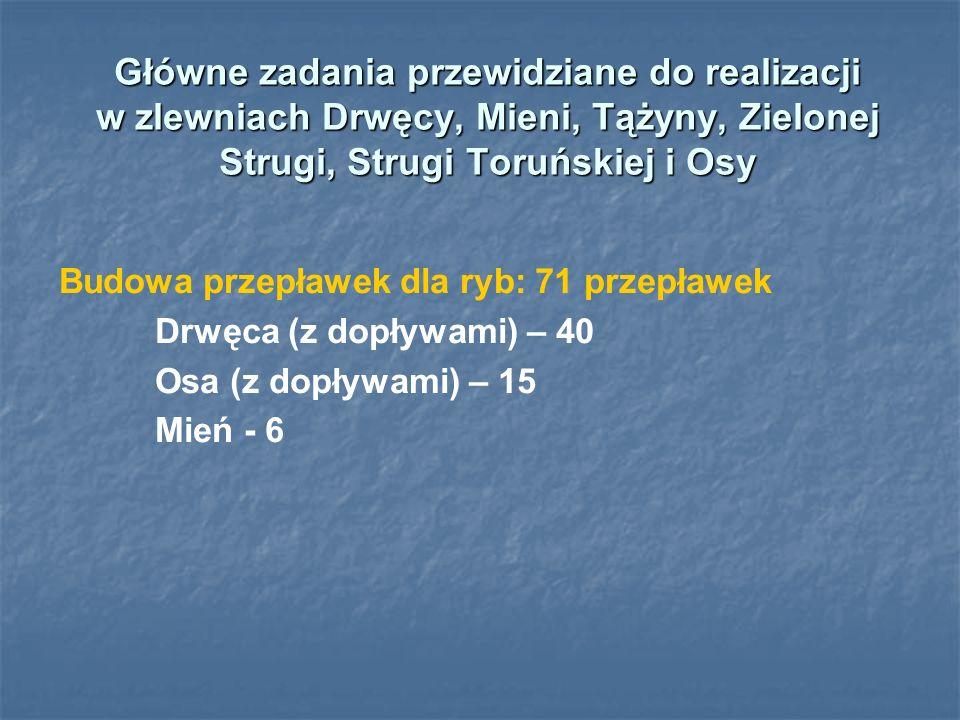 Główne zadania przewidziane do realizacji w zlewniach Drwęcy, Mieni, Tążyny, Zielonej Strugi, Strugi Toruńskiej i Osy Budowa przepławek dla ryb: 71 pr