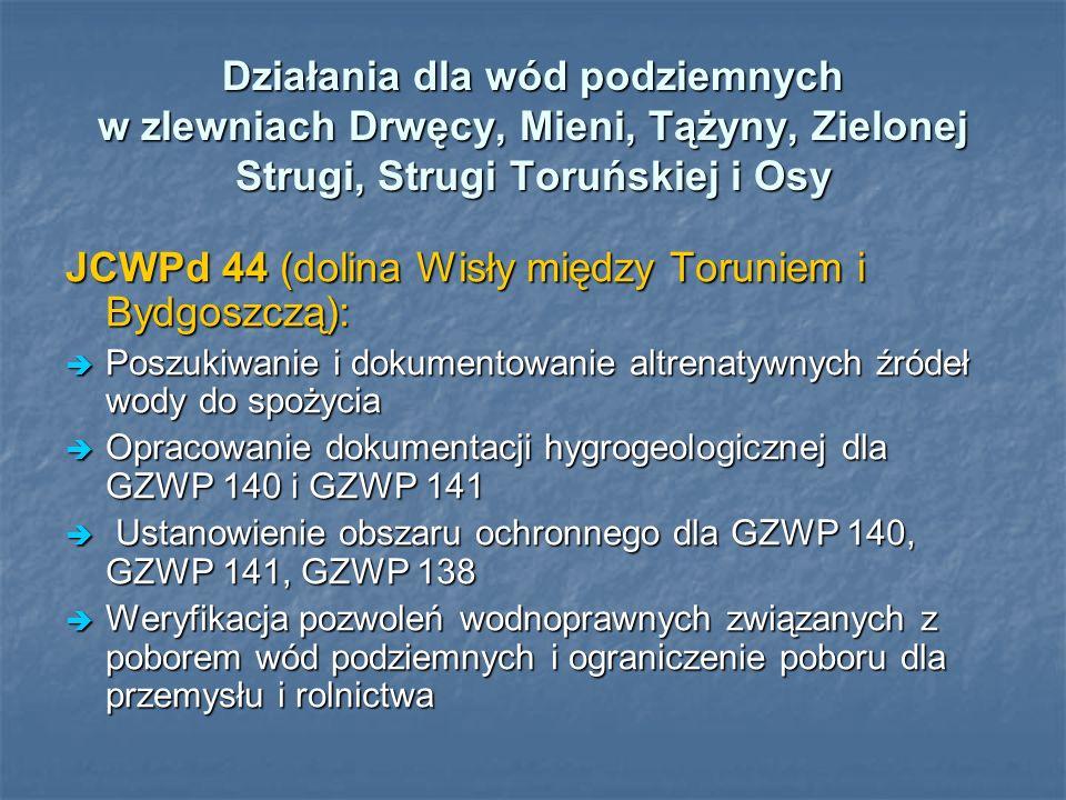 Działania dla wód podziemnych w zlewniach Drwęcy, Mieni, Tążyny, Zielonej Strugi, Strugi Toruńskiej i Osy JCWPd 44 (dolina Wisły między Toruniem i Byd
