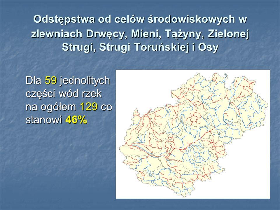 Odstępstwa od celów środowiskowych w zlewniach Drwęcy, Mieni, Tążyny, Zielonej Strugi, Strugi Toruńskiej i Osy Dla 59 jednolitych części wód rzek na o