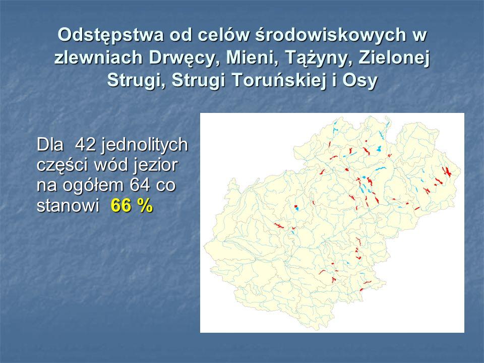 Odstępstwa od celów środowiskowych w zlewniach Drwęcy, Mieni, Tążyny, Zielonej Strugi, Strugi Toruńskiej i Osy Dla 42 jednolitych części wód jezior na