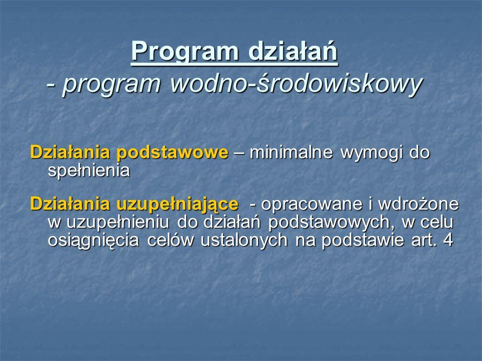 Program działań - program wodno-środowiskowy Działania podstawowe – minimalne wymogi do spełnienia Działania uzupełniające - opracowane i wdrożone w u