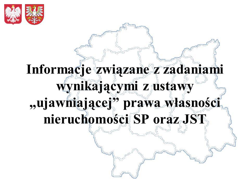 Informacje związane z zadaniami wynikającymi z ustawy ujawniającej prawa własności nieruchomości SP oraz JST
