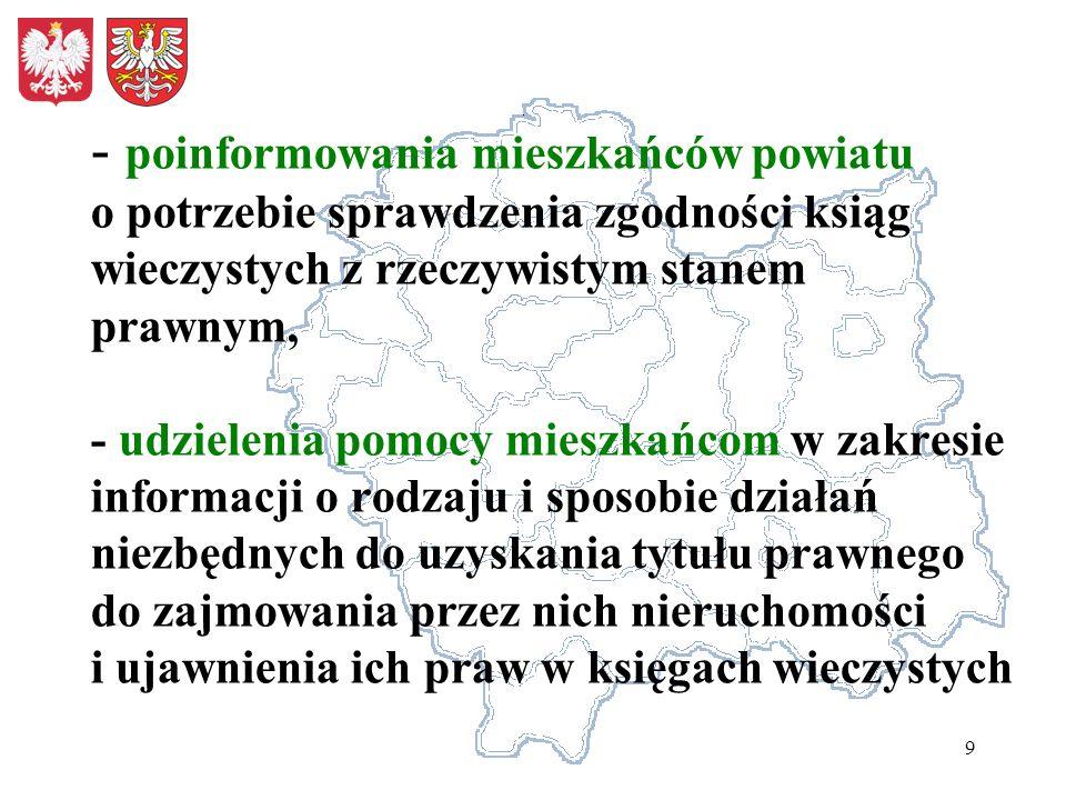 10 Działania powyższe obejmują w szczególności: Opracowanie i rozprowadzenie wśród mieszkańców powiatu szczegółowych informacji o czynnościach niezbędnych do ustalenia danych /tj.