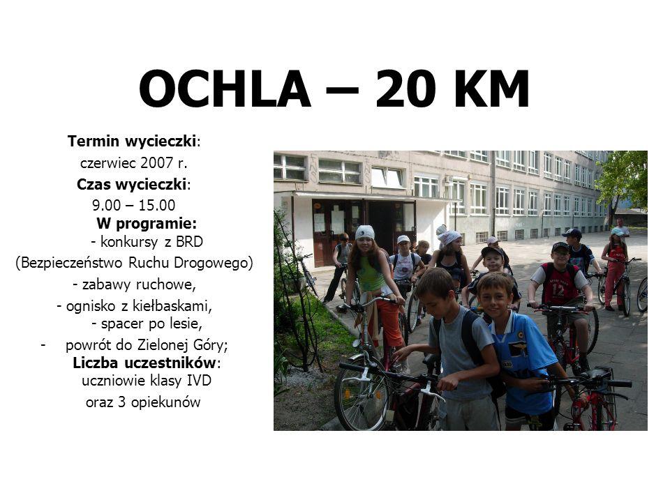 OCHLA – 20 KM Termin wycieczki: czerwiec 2007 r. Czas wycieczki: 9.00 – 15.00 W programie: - konkursy z BRD (Bezpieczeństwo Ruchu Drogowego) - zabawy