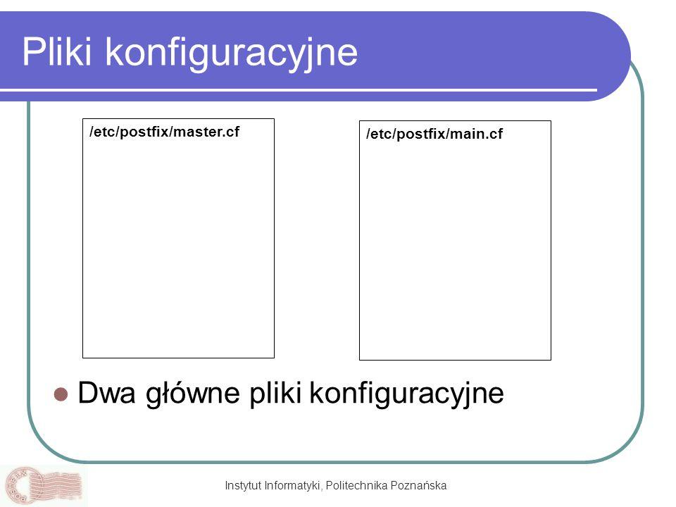 Instytut Informatyki, Politechnika Poznańska Pliki konfiguracyjne Dwa główne pliki konfiguracyjne /etc/postfix/master.cf /etc/postfix/main.cf