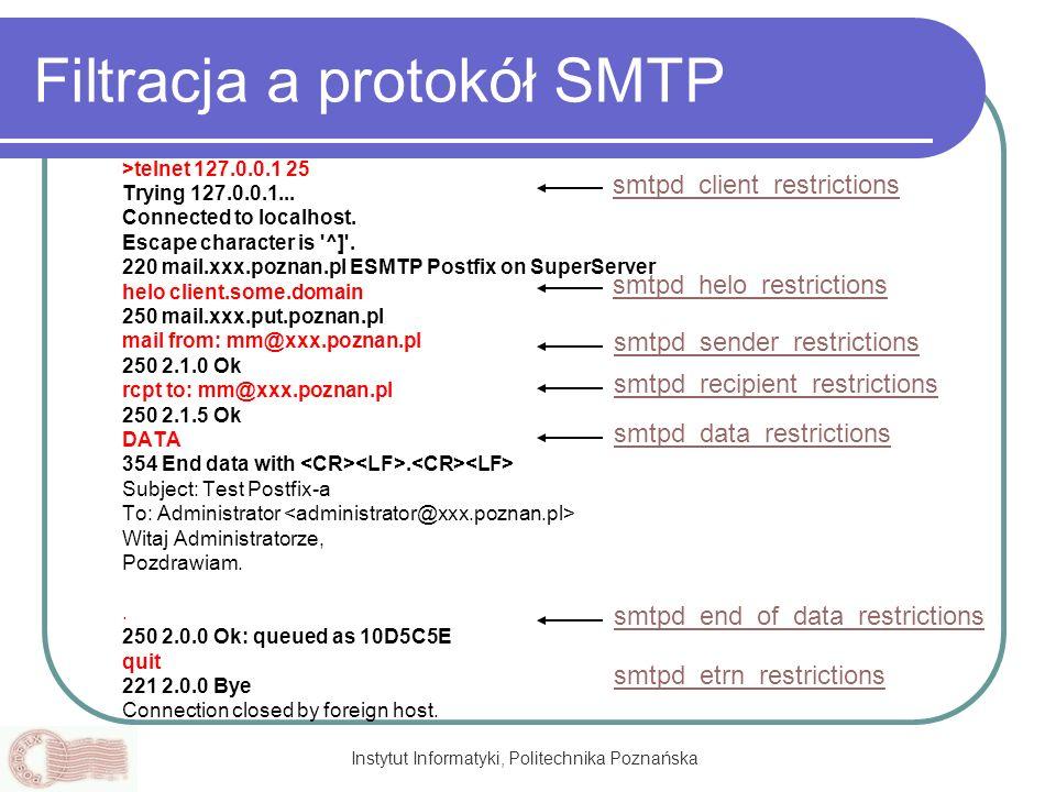 Instytut Informatyki, Politechnika Poznańska Filtracja a protokół SMTP >telnet 127.0.0.1 25 Trying 127.0.0.1... Connected to localhost. Escape charact