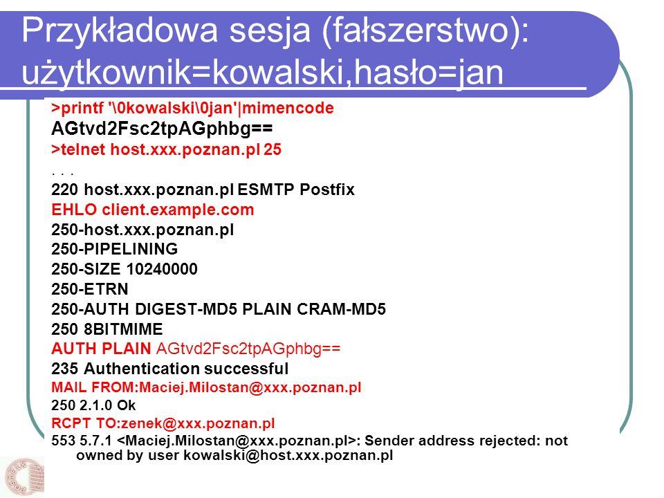 Instytut Informatyki, Politechnika Poznańska Przykładowa sesja (fałszerstwo): użytkownik=kowalski,hasło=jan >printf '\0kowalski\0jan'|mimencode AGtvd2