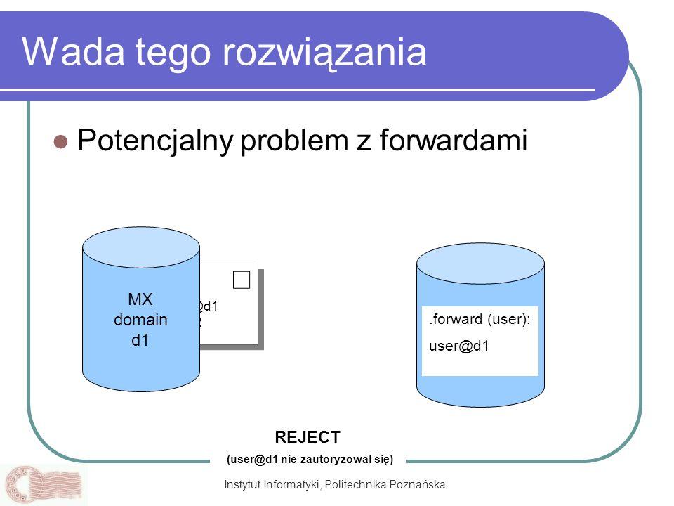 Instytut Informatyki, Politechnika Poznańska From:user@d1 To:user@d2 Wada tego rozwiązania Potencjalny problem z forwardami MX domain d1 MX domain d2