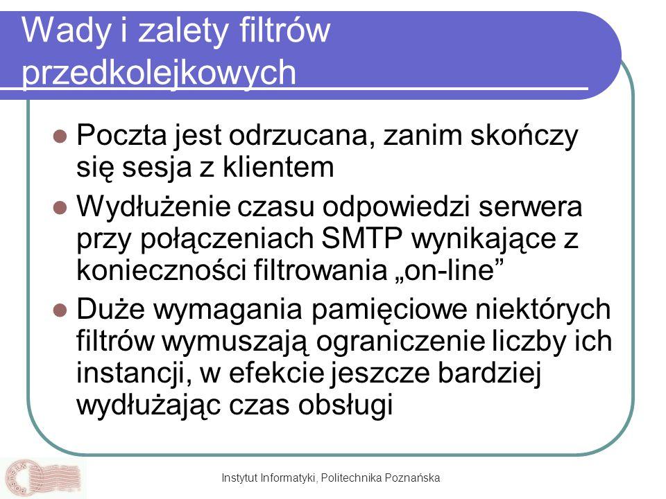 Instytut Informatyki, Politechnika Poznańska Wady i zalety filtrów przedkolejkowych Poczta jest odrzucana, zanim skończy się sesja z klientem Wydłużen