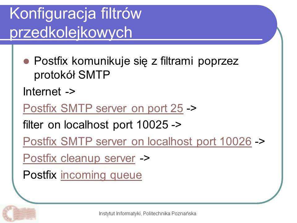Instytut Informatyki, Politechnika Poznańska Konfiguracja filtrów przedkolejkowych Postfix komunikuje się z filtrami poprzez protokół SMTP Internet ->