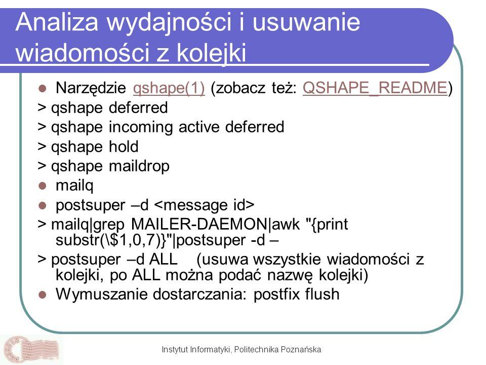 Instytut Informatyki, Politechnika Poznańska Analiza wydajności i usuwanie wiadomości z kolejki Narzędzie qshape(1) (zobacz też: QSHAPE_README)qshape(
