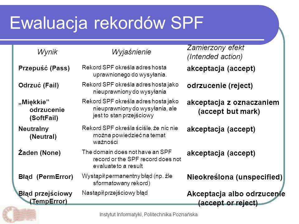 Instytut Informatyki, Politechnika Poznańska Ewaluacja rekordów SPF WynikWyjaśnienie Zamierzony efekt (Intended action) Przepuść (Pass) Rekord SPF okr