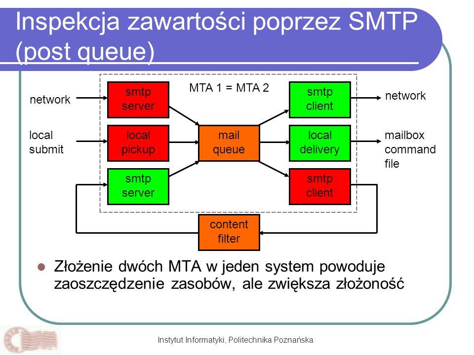 Instytut Informatyki, Politechnika Poznańska Inspekcja zawartości poprzez SMTP (post queue) Złożenie dwóch MTA w jeden system powoduje zaoszczędzenie