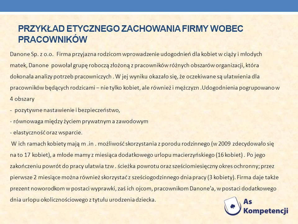 PRZYKŁAD ETYCZNEGO ZACHOWANIA FIRMY WOBEC PRACOWNIKÓW Danone Sp. z o.o. Firma przyjazna rodzicom wprowadzenie udogodnień dla kobiet w ciąży i młodych