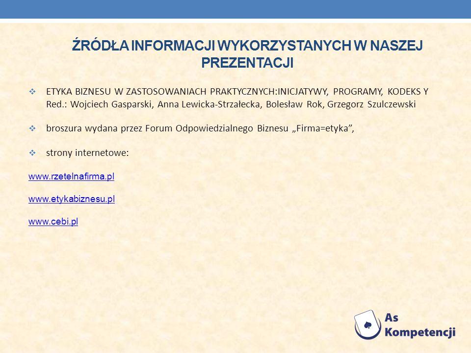 ŹRÓDŁA INFORMACJI WYKORZYSTANYCH W NASZEJ PREZENTACJI ETYKA BIZNESU W ZASTOSOWANIACH PRAKTYCZNYCH:INICJATYWY, PROGRAMY, KODEKS Y Red.: Wojciech Gaspar