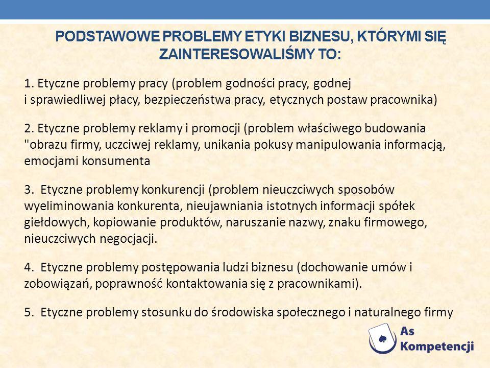PODSTAWOWE PROBLEMY ETYKI BIZNESU, KTÓRYMI SIĘ ZAINTERESOWALIŚMY TO: 1. Etyczne problemy pracy (problem godności pracy, godnej i sprawiedliwej płacy,
