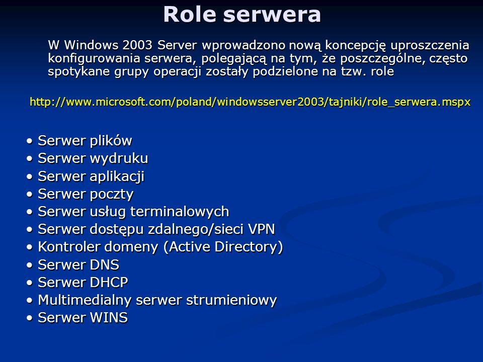 Role serwera W Windows 2003 Server wprowadzono nową koncepcję uproszczenia konfigurowania serwera, polegającą na tym, że poszczególne, często spotykane grupy operacji zostały podzielone na tzw.