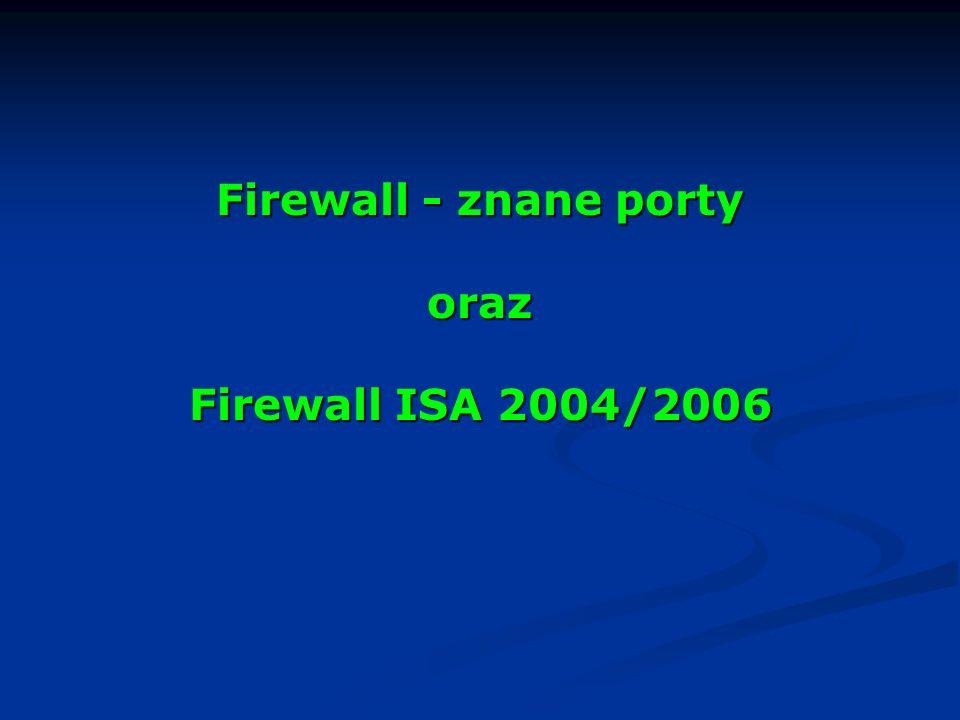 Firewall - znane porty oraz Firewall ISA 2004/2006