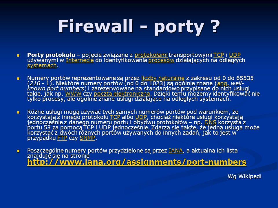 Firewall - porty .