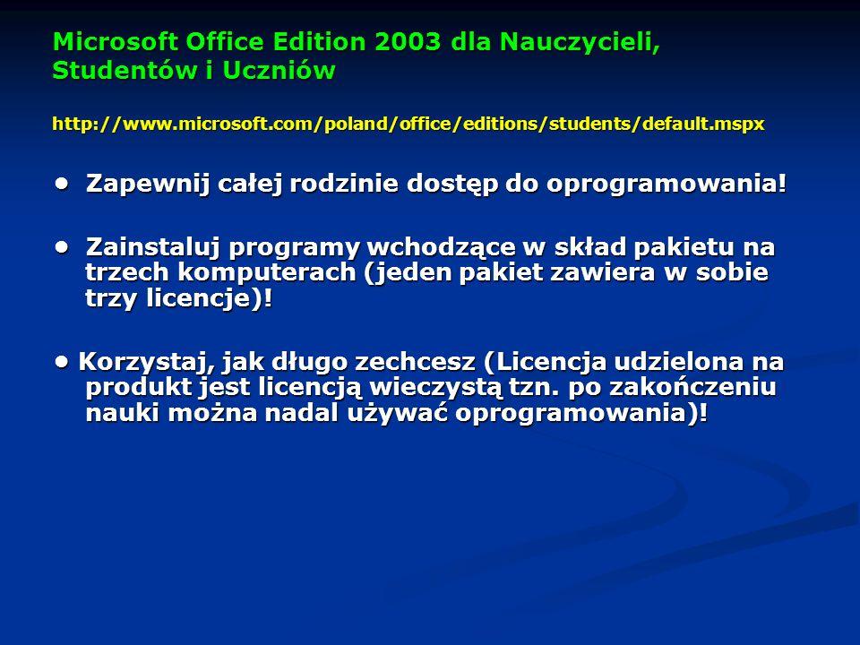 Microsoft Office Edition 2003 dla Nauczycieli, Studentów i Uczniów http://www.microsoft.com/poland/office/editions/students/default.mspx Zapewnij całej rodzinie dostęp do oprogramowania.