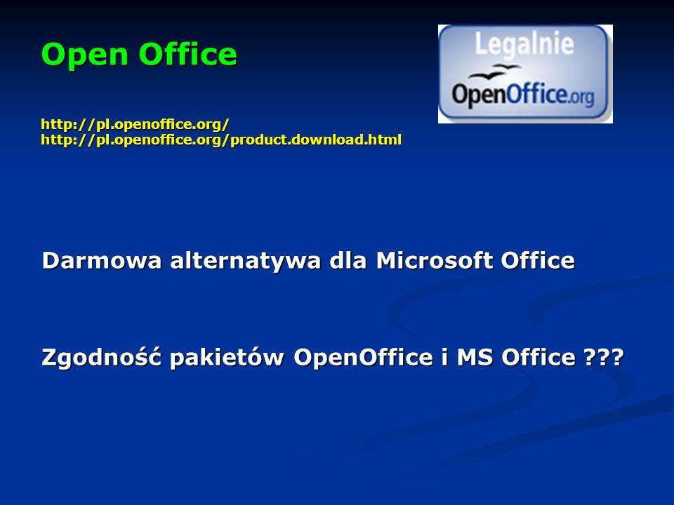 Open Office http://pl.openoffice.org/ http://pl.openoffice.org/product.download.html Darmowa alternatywa dla Microsoft Office Zgodność pakietów OpenOffice i MS Office ???