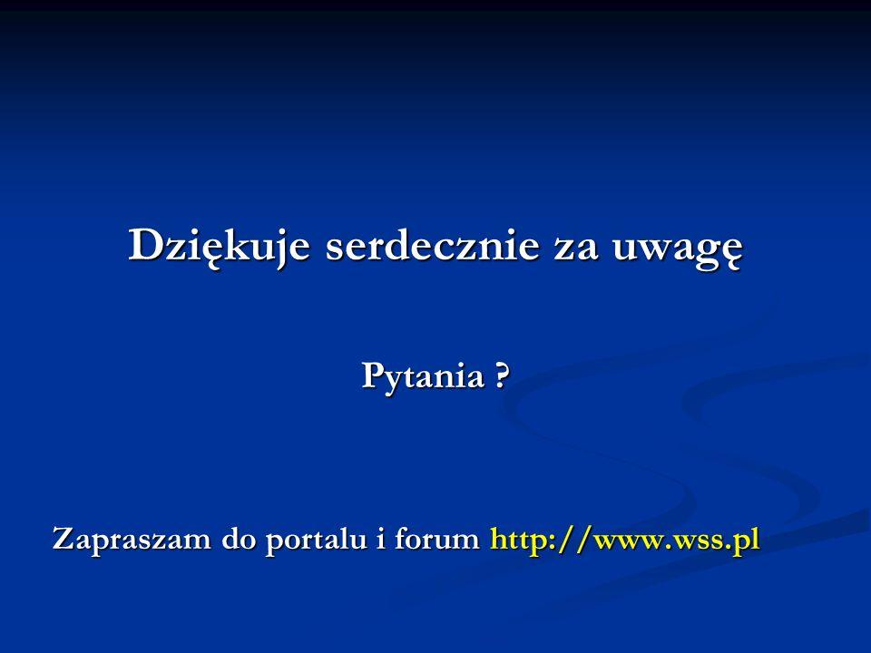 Dziękuje serdecznie za uwagę Pytania ? Zapraszam do portalu i forum http://www.wss.pl