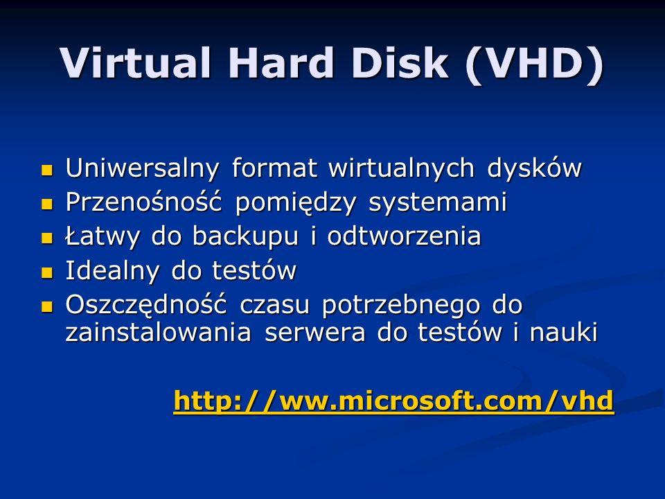 Virtual Hard Disk (VHD) Uniwersalny format wirtualnych dysków Uniwersalny format wirtualnych dysków Przenośność pomiędzy systemami Przenośność pomiędzy systemami Łatwy do backupu i odtworzenia Łatwy do backupu i odtworzenia Idealny do testów Idealny do testów Oszczędność czasu potrzebnego do zainstalowania serwera do testów i nauki Oszczędność czasu potrzebnego do zainstalowania serwera do testów i nauki http://ww.microsoft.com/vhd http://ww.microsoft.com/vhdhttp://ww.microsoft.com/vhdhttp://ww.microsoft.com/vhd