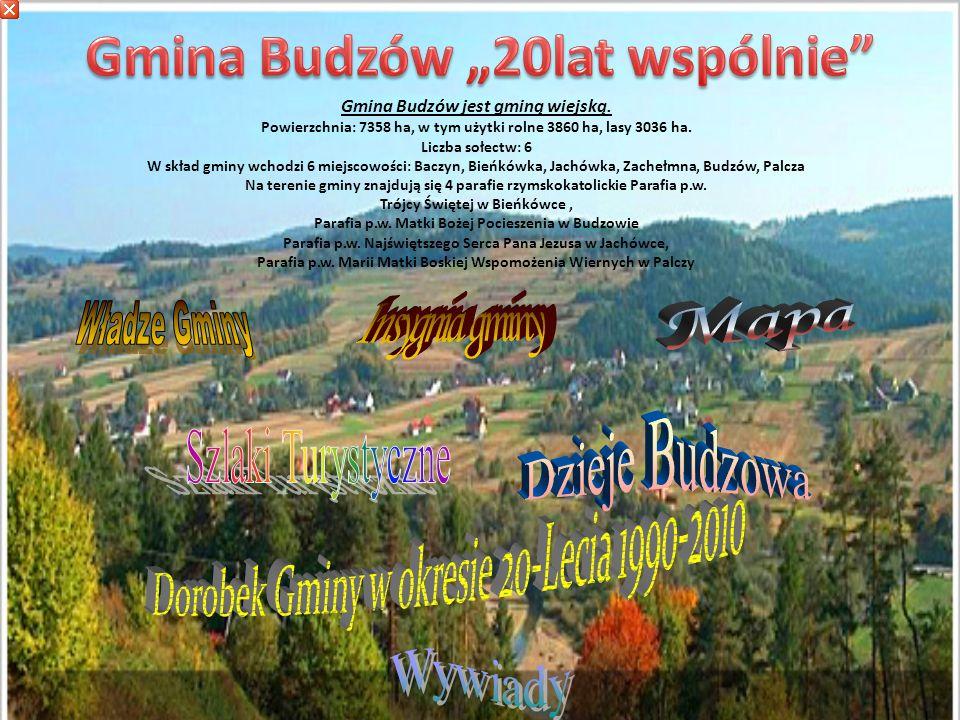 Gmina Budzów jest gminą wiejską.Powierzchnia: 7358 ha, w tym użytki rolne 3860 ha, lasy 3036 ha.