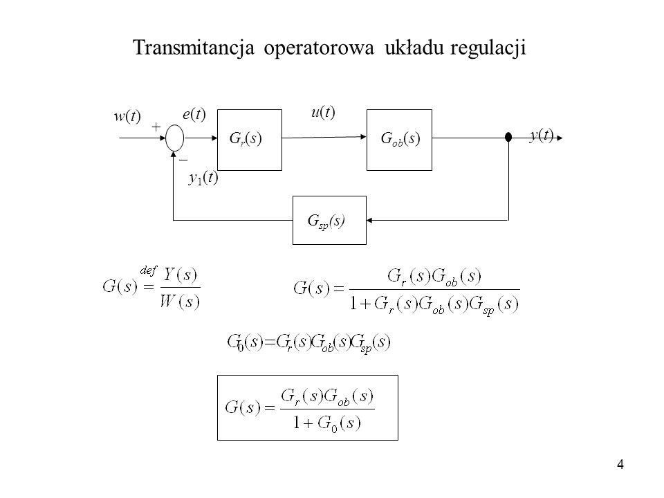 4 Transmitancja operatorowa układu regulacji y(t)y(t) Gr(s)Gr(s)G ob (s) w(t)w(t) u(t)u(t) e(t)e(t) _ + G sp (s) y1(t)y1(t)