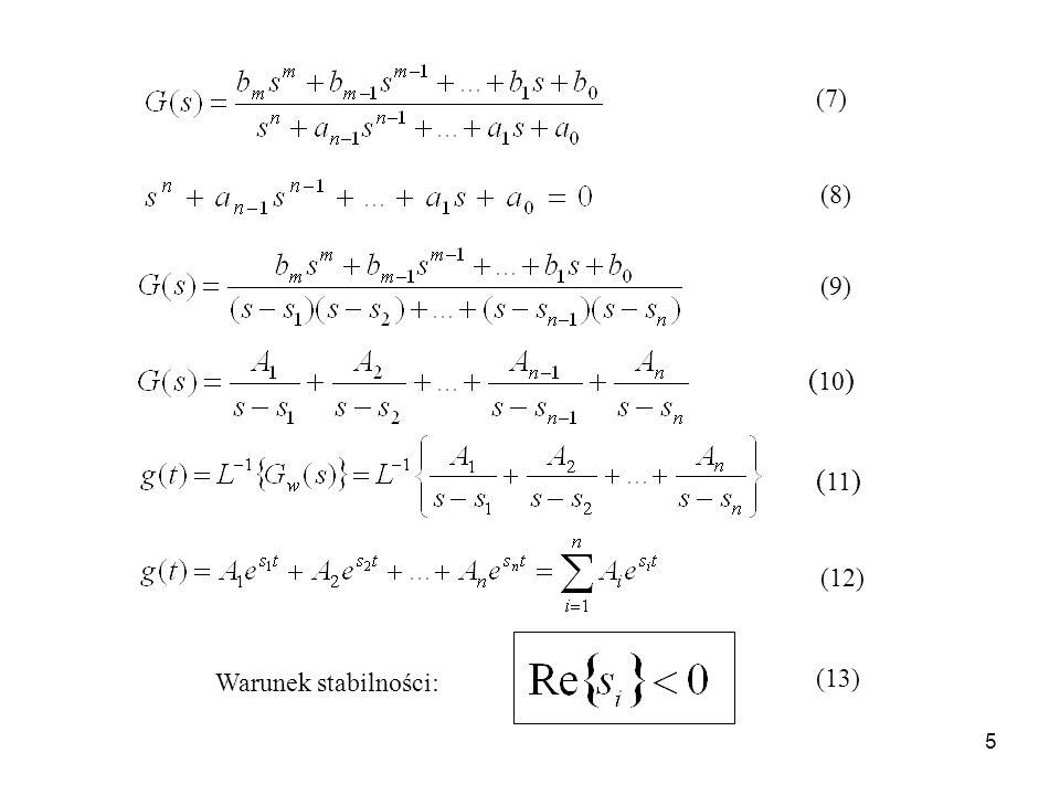 6 Wskaźniki jakości regulacji Dokładność statyczna Wskaźniki jakości związane z odpowiedzią skokową czas regulacji t r czas narastania t p maksymalne odchylenie dynamiczne h 1 przeregulowanie Wskaźniki jakości związane z charakterystyką częstotliwościową pasmo przenoszenia zapas modułu zapas fazy Wskaźniki całkowe zapas stabilności