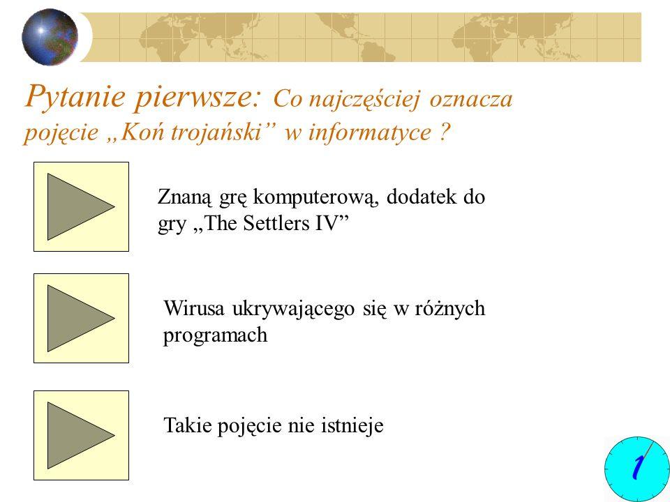 Pytanie pierwsze: Co najczęściej oznacza pojęcie Koń trojański w informatyce ? Znaną grę komputerową, dodatek do gry The Settlers IV Wirusa ukrywające