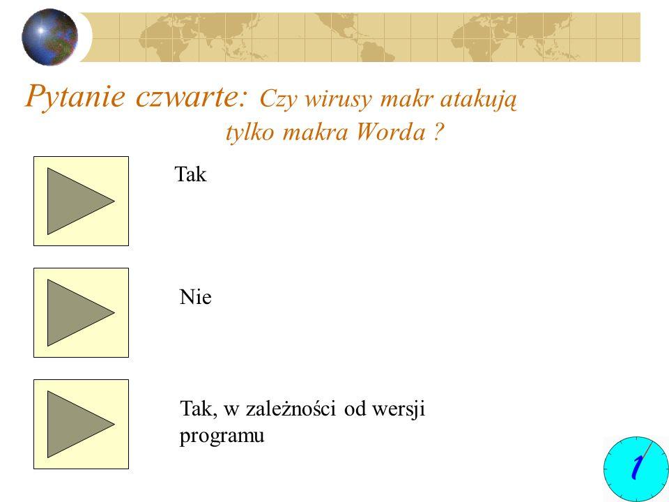 Pytanie czwarte: Czy wirusy makr atakują tylko makra Worda ? Tak Nie Tak, w zależności od wersji programu