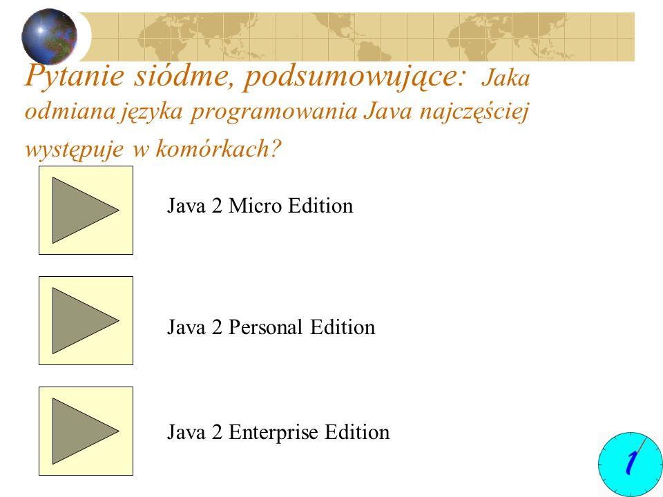 Pytanie siódme, podsumowujące: Jaka odmiana języka programowania Java najczęściej występuje w komórkach? Java 2 Micro Edition Java 2 Personal Edition