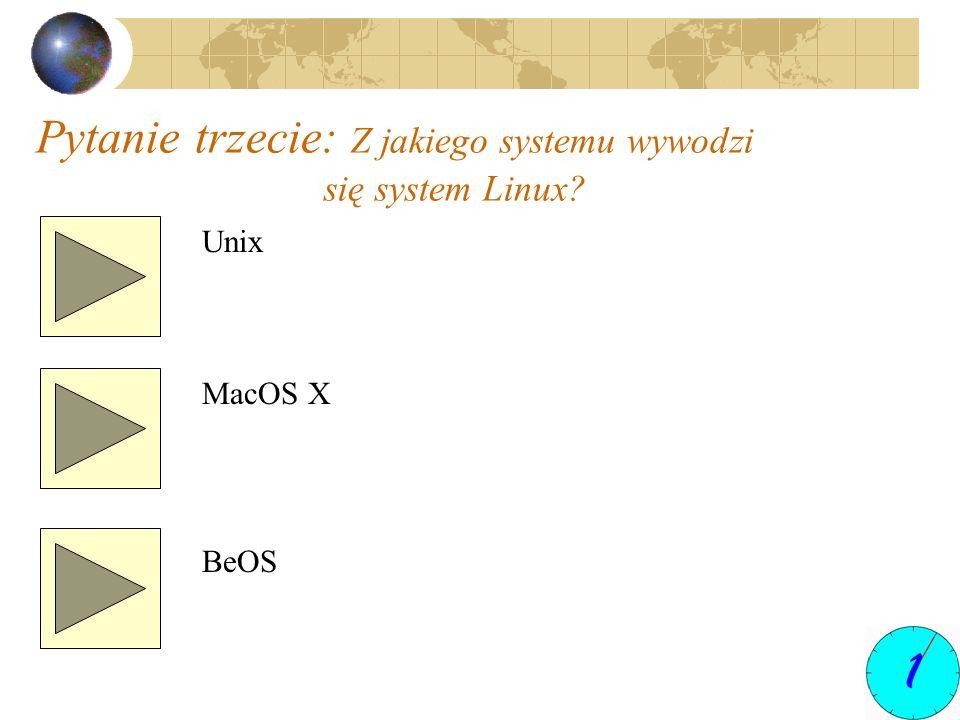 Pytanie trzecie: Z jakiego systemu wywodzi się system Linux? Unix MacOS X BeOS