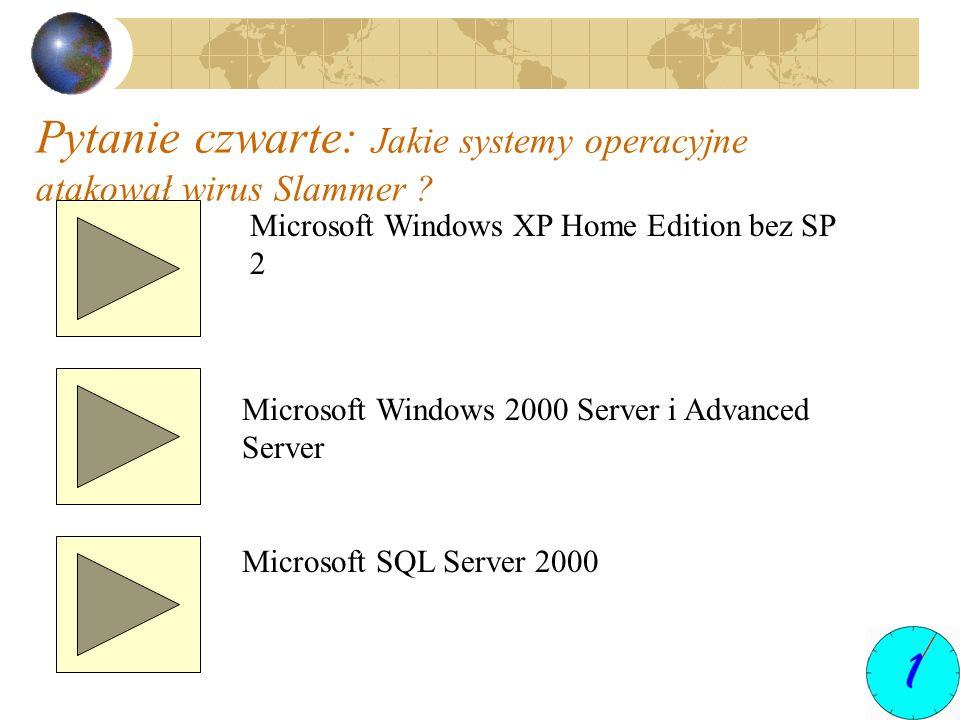 Pytanie czwarte: Jakie systemy operacyjne atakował wirus Slammer ? Microsoft Windows XP Home Edition bez SP 2 Microsoft Windows 2000 Server i Advanced