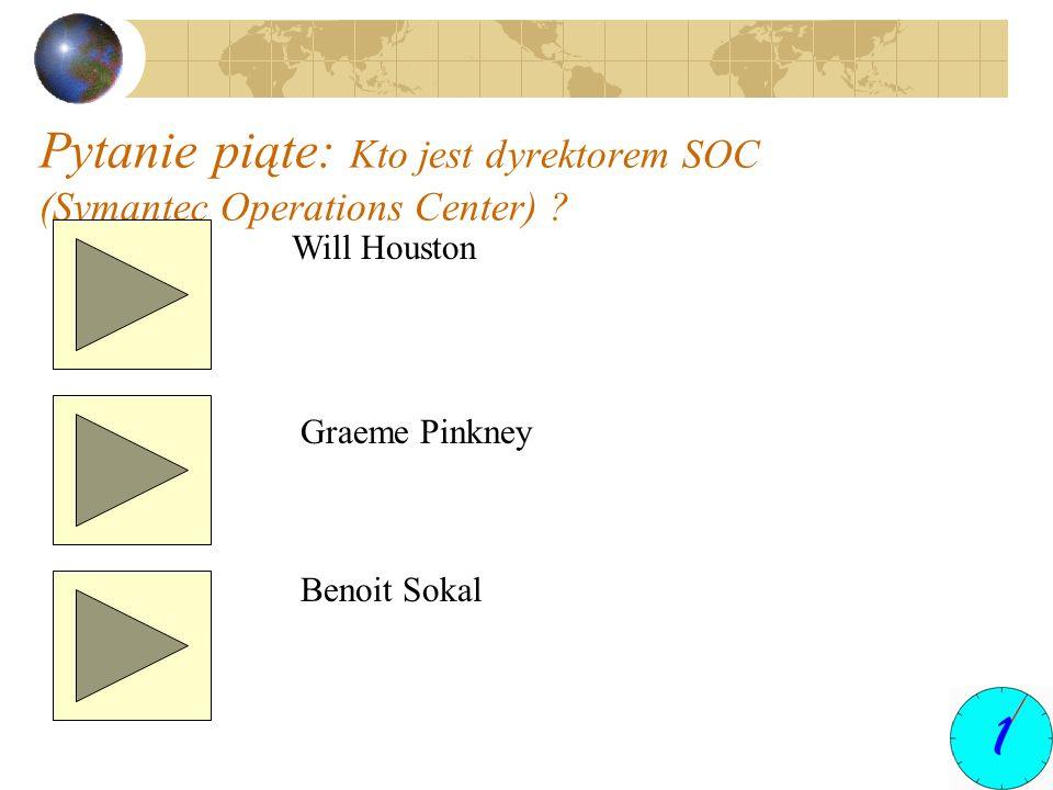 Pytanie piąte: Kto jest dyrektorem SOC (Symantec Operations Center) ? Will Houston Graeme Pinkney Benoit Sokal