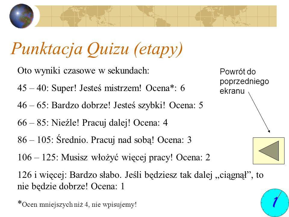 Punktacja Quizu (etapy) Oto wyniki czasowe w sekundach: 45 – 40: Super! Jesteś mistrzem! Ocena*: 6 46 – 65: Bardzo dobrze! Jesteś szybki! Ocena: 5 66