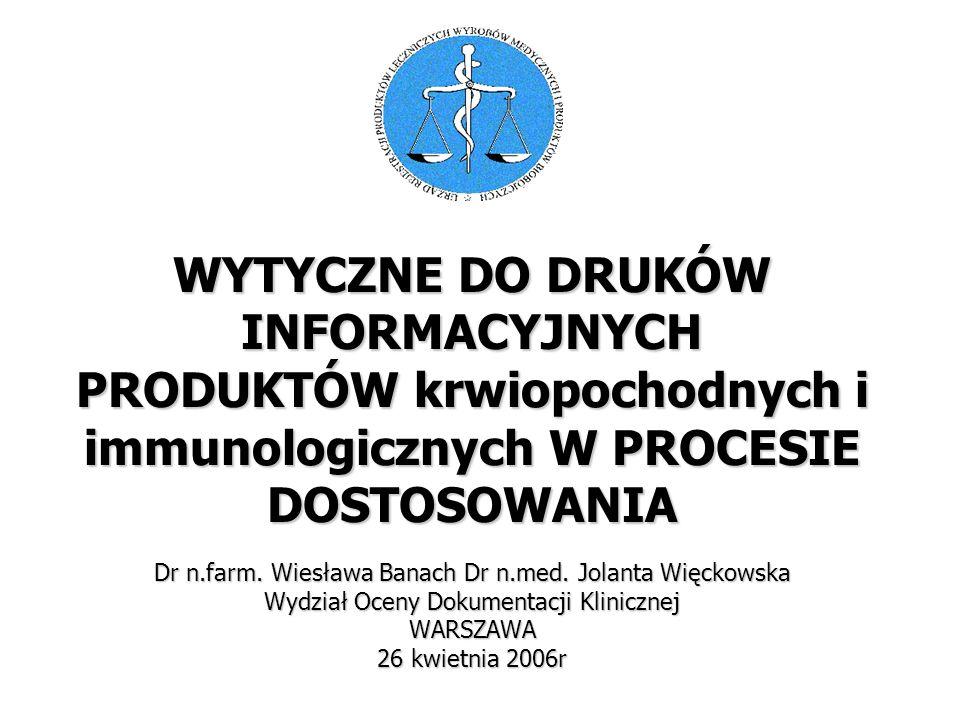 Dr n.farm. Wiesława Banach Dr n.med.