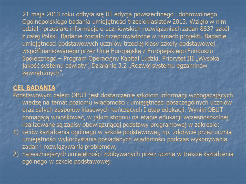 21 maja 2013 roku odbyła się III edycja powszechnego i dobrowolnego Ogólnopolskiego badania umiejętności trzecioklasistów 2013. Wzięło w nim udział i