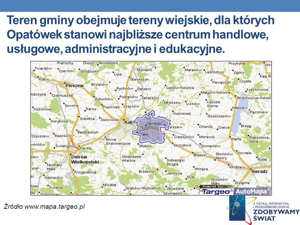 Teren gminy obejmuje tereny wiejskie, dla których Opatówek stanowi najbliższe centrum handlowe, usługowe, administracyjne i edukacyjne. Źródło www.map