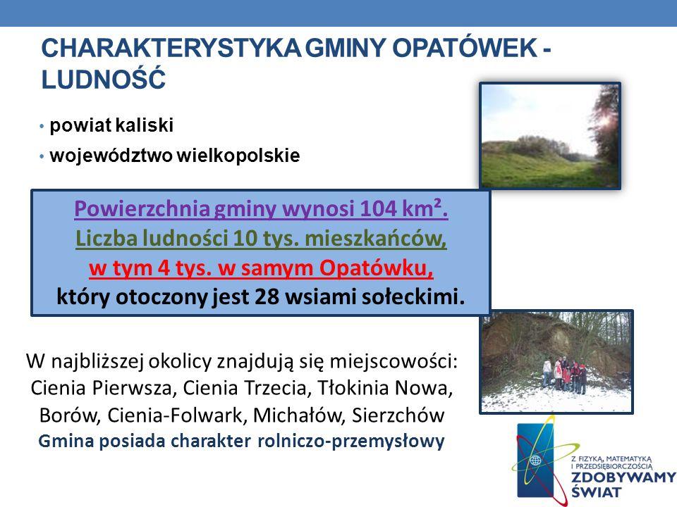 CHARAKTERYSTYKA GMINY OPATÓWEK - LUDNOŚĆ powiat kaliski województwo wielkopolskie Powierzchnia gminy wynosi 104 km². Liczba ludności 10 tys. mieszkańc